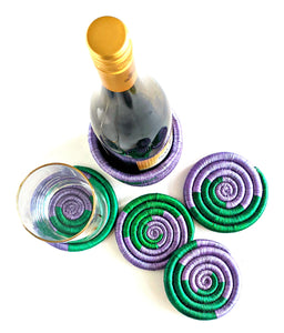 Purple Green Wine Bottle Holder Coaster Set