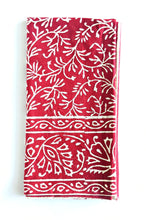 Cranberry Block Print Dinner Napkins
