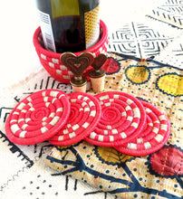 Red Wine Bottle Holder Coaster Set