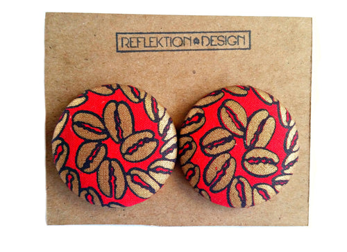Red Gold Cowrie Ankara Fabric Button Earrings