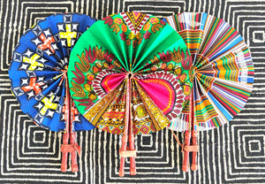 Kente Pattern Ankara Folding Fan