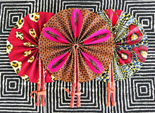 Red Leopard Ankara Folding Fan