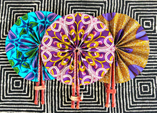 Purple Green Ankara Folding Fan