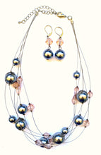 Silver Lilac Bead Necklace Earring Set