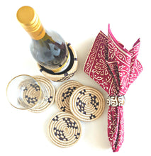 Tan Black Wine Bottle Holder Coaster Set