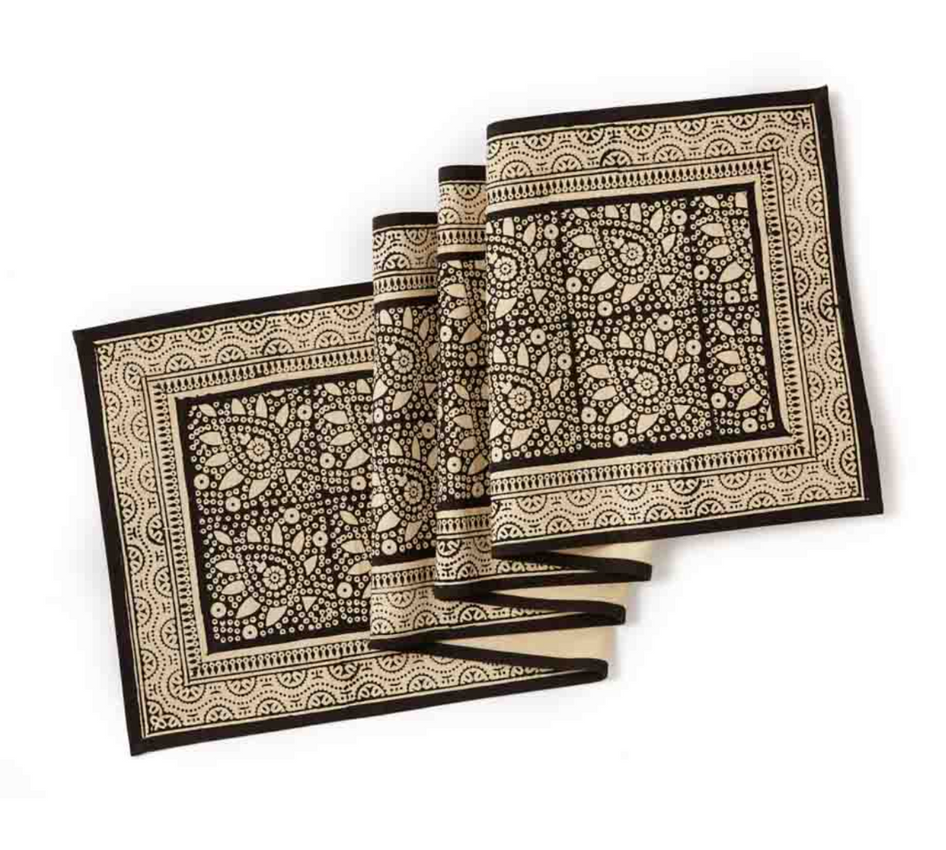 Tan Black Block Print Table Runner