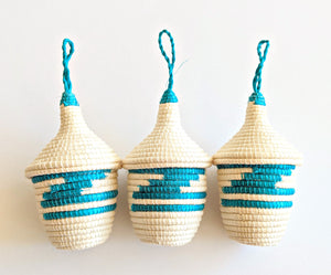 Teal Blue White African Ornaments