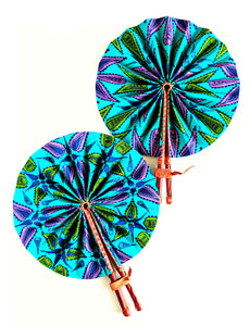 Teal Leaf Ankara Folding Fan