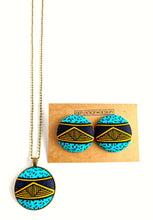 Teal Pyramid Ankara Button Earrings or Pendant Necklace