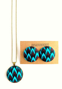 Turquoise Red Ankara Button Earrings or Pendant Necklace