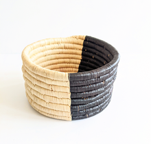 Black Beige Two Tone African Woven Basket