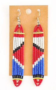 White Red African Bead Earrings