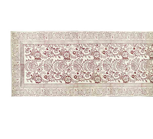 White Cranberry Block Print Table Runner