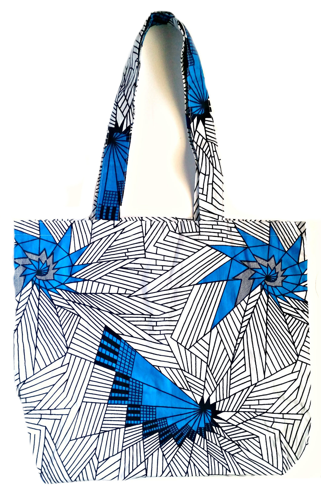White Blue Abstract African Print Fabric Tote Bag