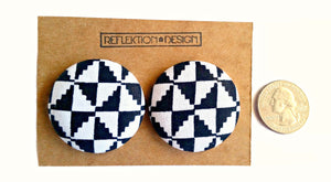 White Black Ankara Button Earrings or Pendant Necklace