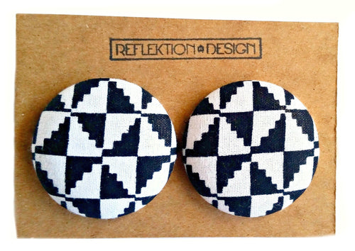 White Black Ankara Button Earrings