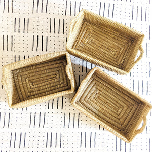 Natural Rectangle Woven Grass Basket (Slight Imperfections)