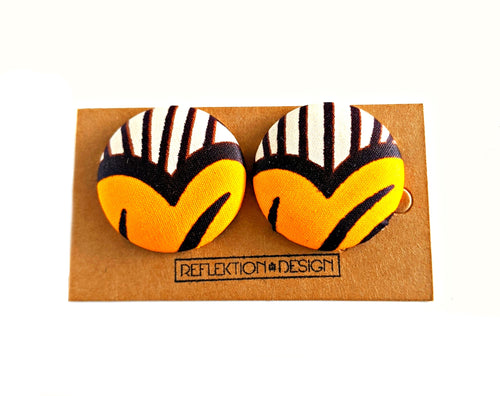 Yellow Hearts Ankara Fabric Button Earrings