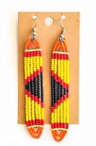 Yellow Red African Bead Earrings