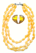 Yellow Bead Necklace Earring Set