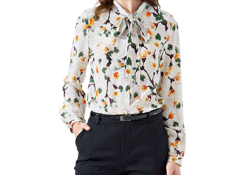 EMMA CHAI Fancy Floral Silk Crepe Blouse