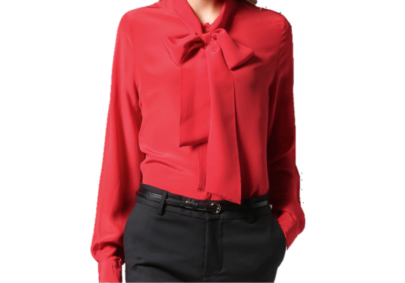 EMMA CHAI Adobe Red Silk Crepe Blouse