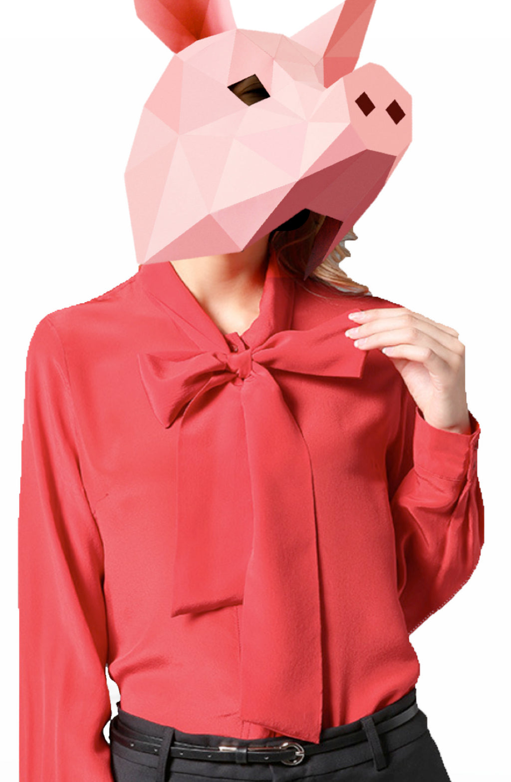 EMMA CHAI Red Silk Crepe Blouse - Pussy Bow Tie