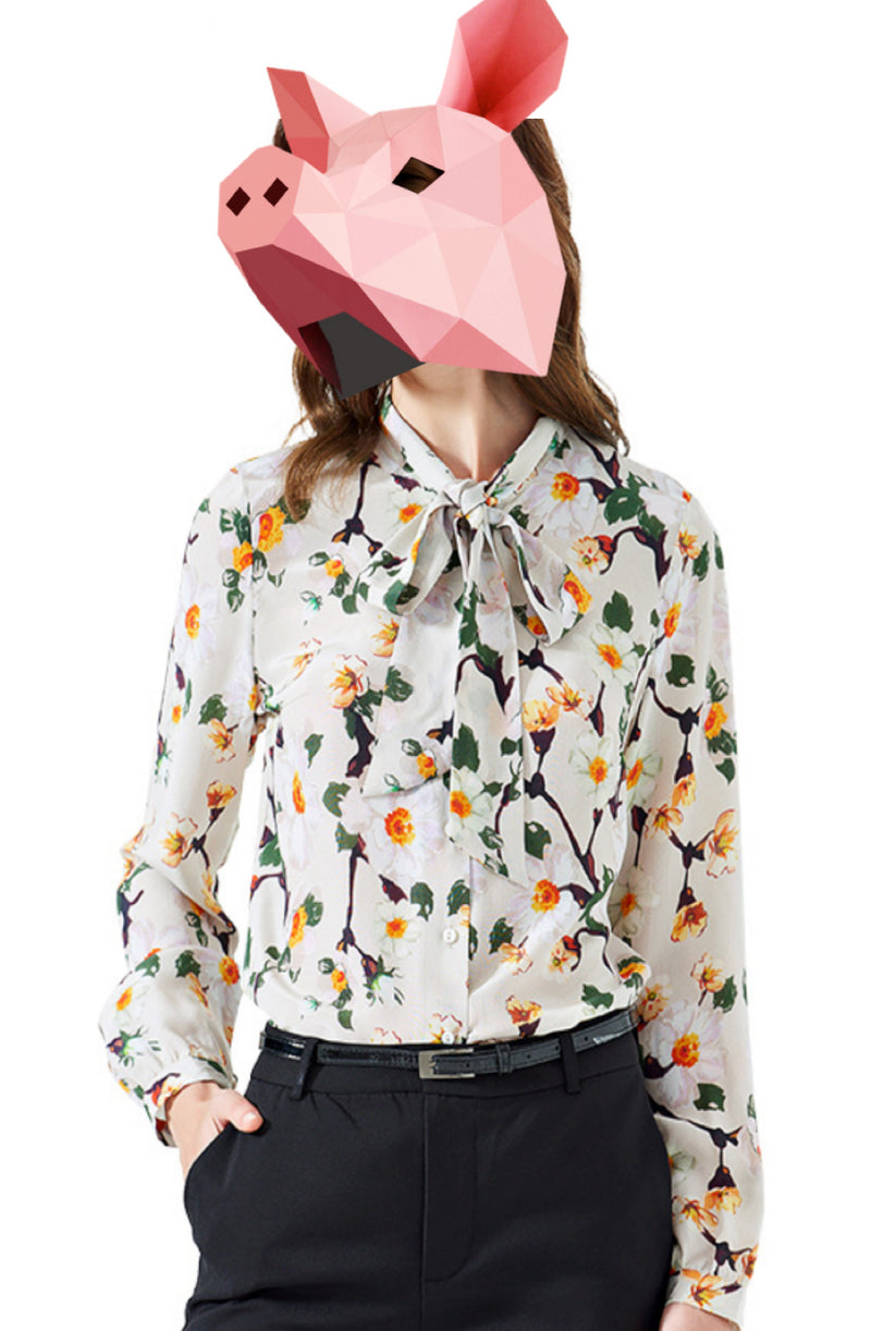 EMMA CHAI: Fancy Floral Silk Crepe Blouse - Tie Neck