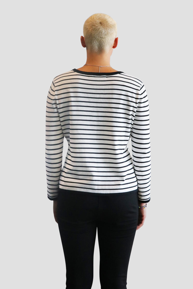 emma chai black and white stripe top. black and white stripe pullover. black and white top. cotton. modal. emmachaiofficial instagram