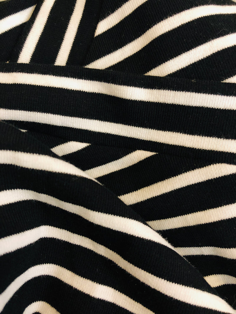 EMMA CHAI Striped V-Neck Top in Black/White