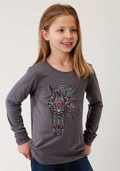 Long Sleeve Horse Applique Tee