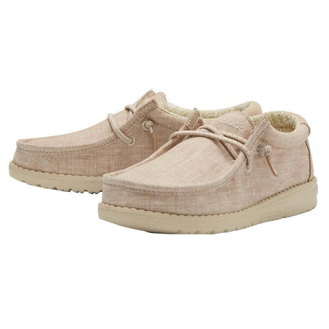 Hey Dude Wally Youth Canvas Beige Shoes | Cornell's Country Store