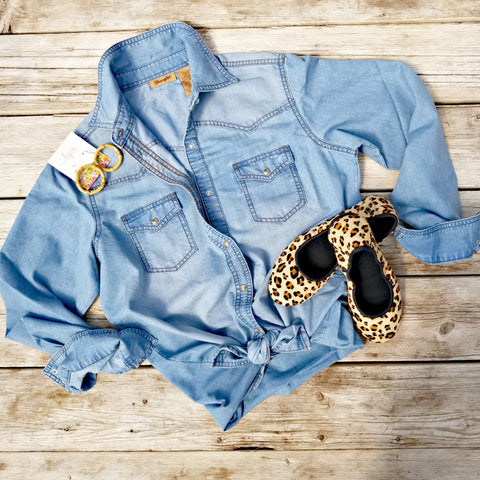 Long Sleeve Snap Up Denim Shirt