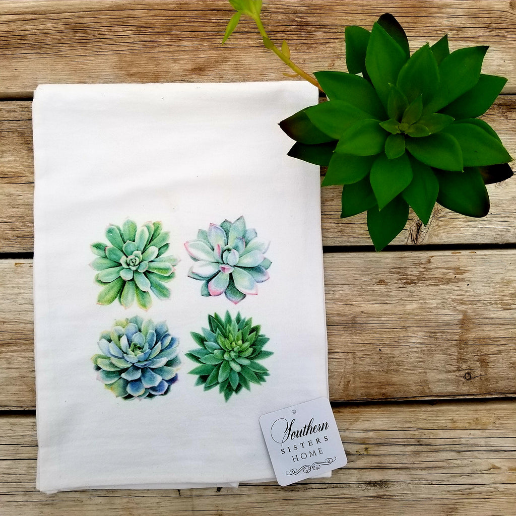 Luxury Flour Sack Towels with Succulents or Cactus