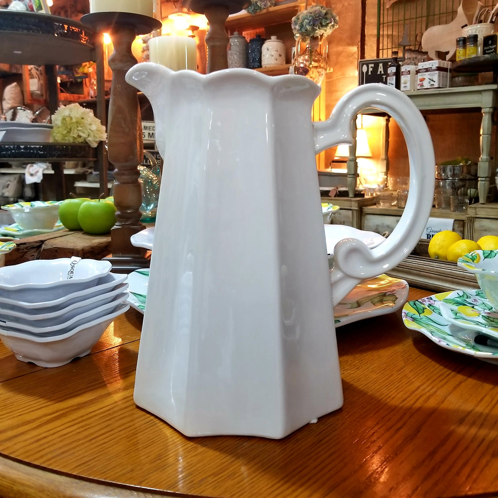 White Ceramic Water Pitcher