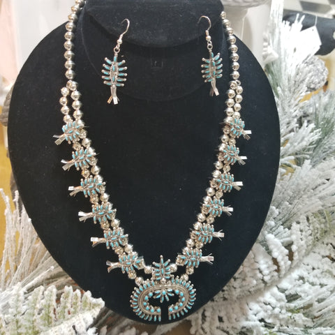 Genuine Turquoise and Silver Squash Blossom