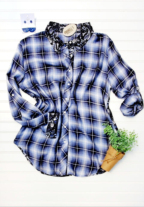 Simply Noelle Plaid Button Down w/ Paisley Back