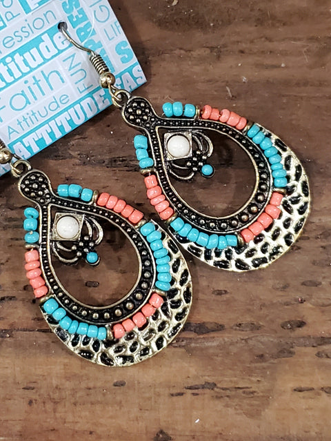 Turquoise and Orange Beaded Drop Earrings