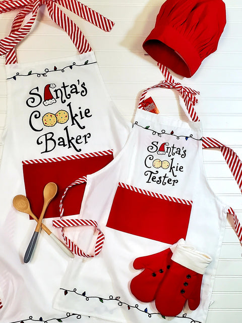 Santa's Cookie Tester Apron and Chef Hat Set