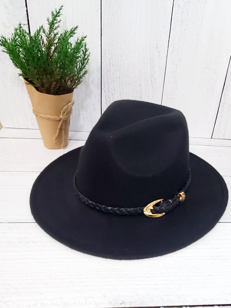 Black Felt Fedora w / Braided Black Band