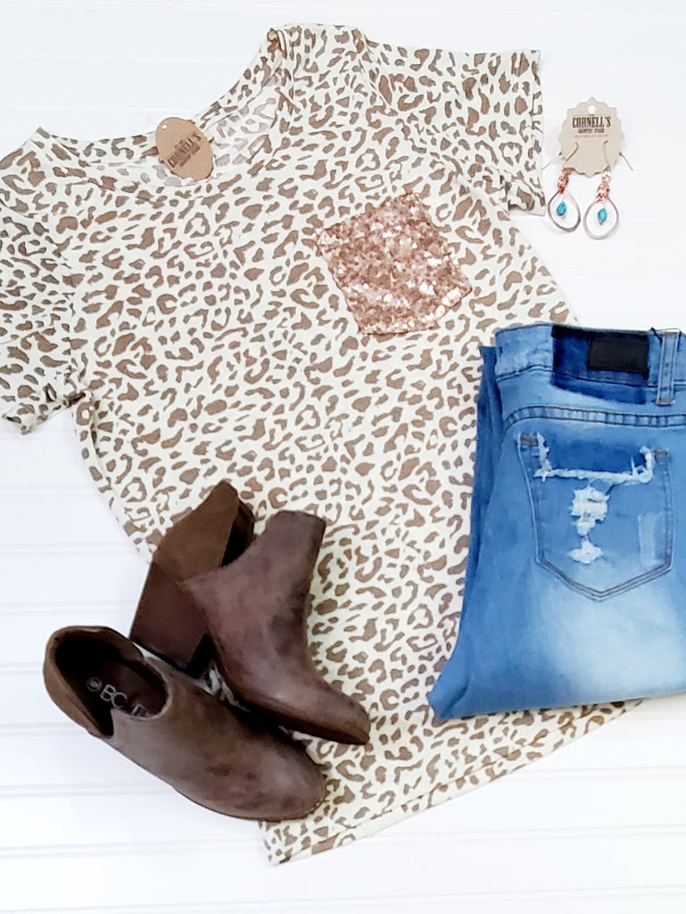 Snow Leopard Tee With Sequin Pocket
