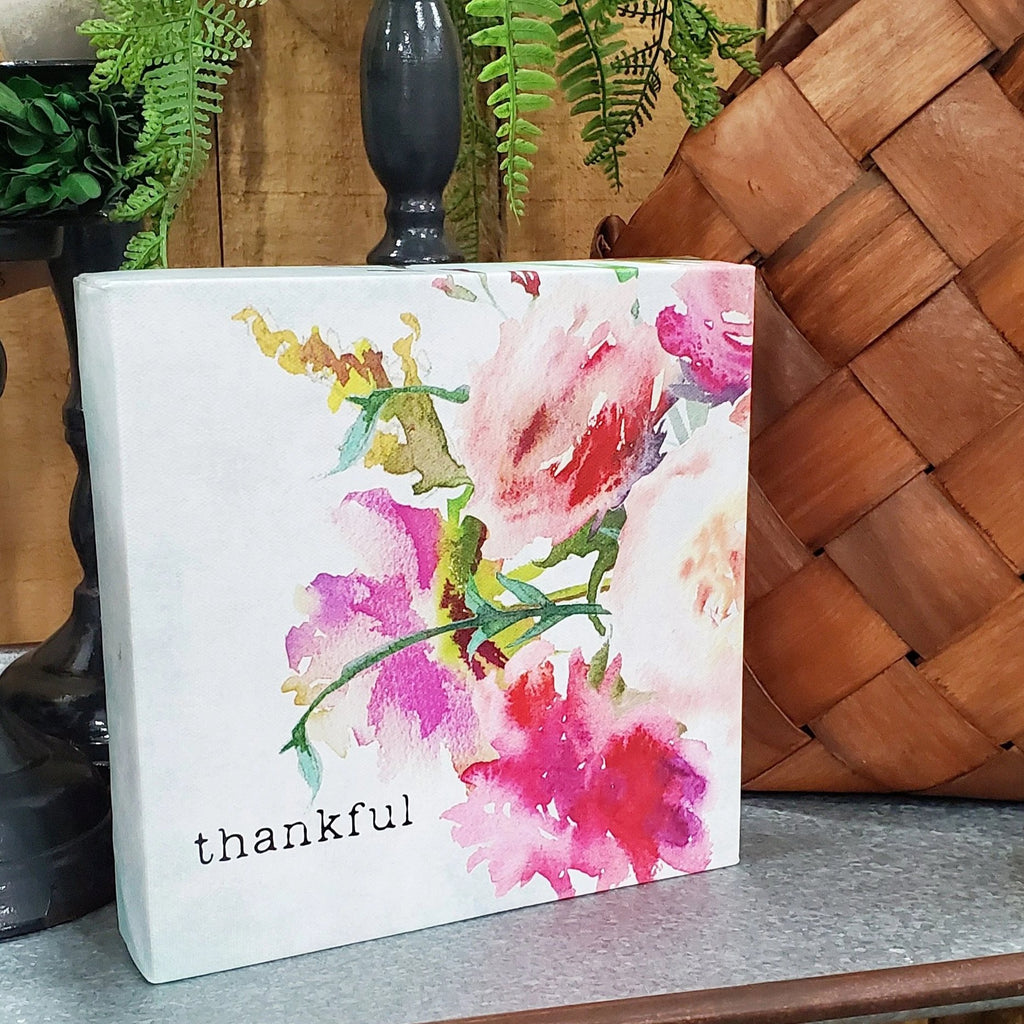 Thankful Floral 8 X 8 Canvas