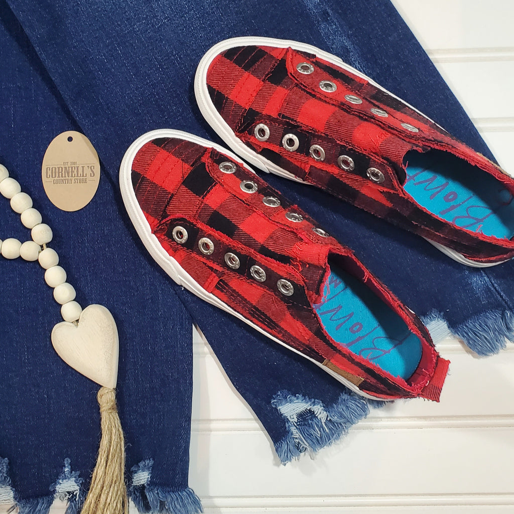 Blowfish Slip On Red & Black Buffalo Plaid Sneakers