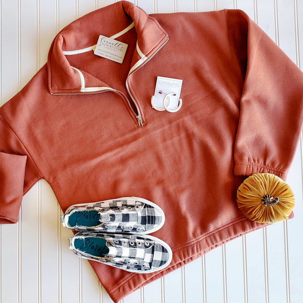 Cozy Copper Half Zip Fleece Pullover