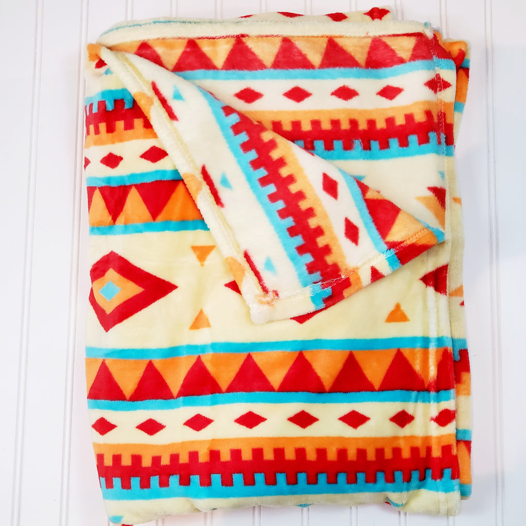 Native Stripe Print Plush and Cozy Blanket