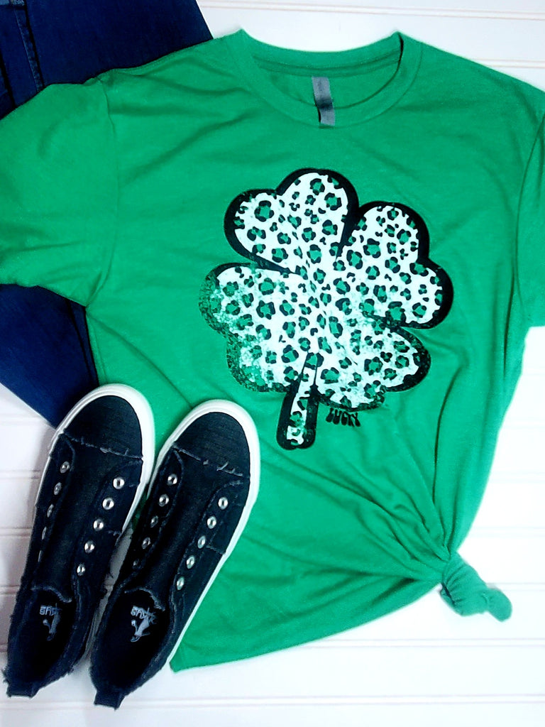 Lucky Leopard Clover Graphic Tee | Cornell's Country Store