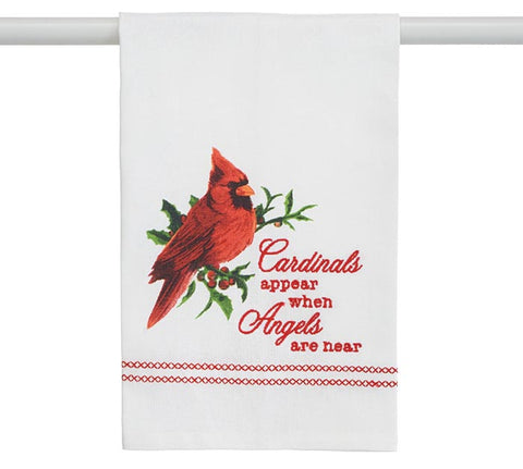 Cardinals Appear When Angels Are Near Tea Towel