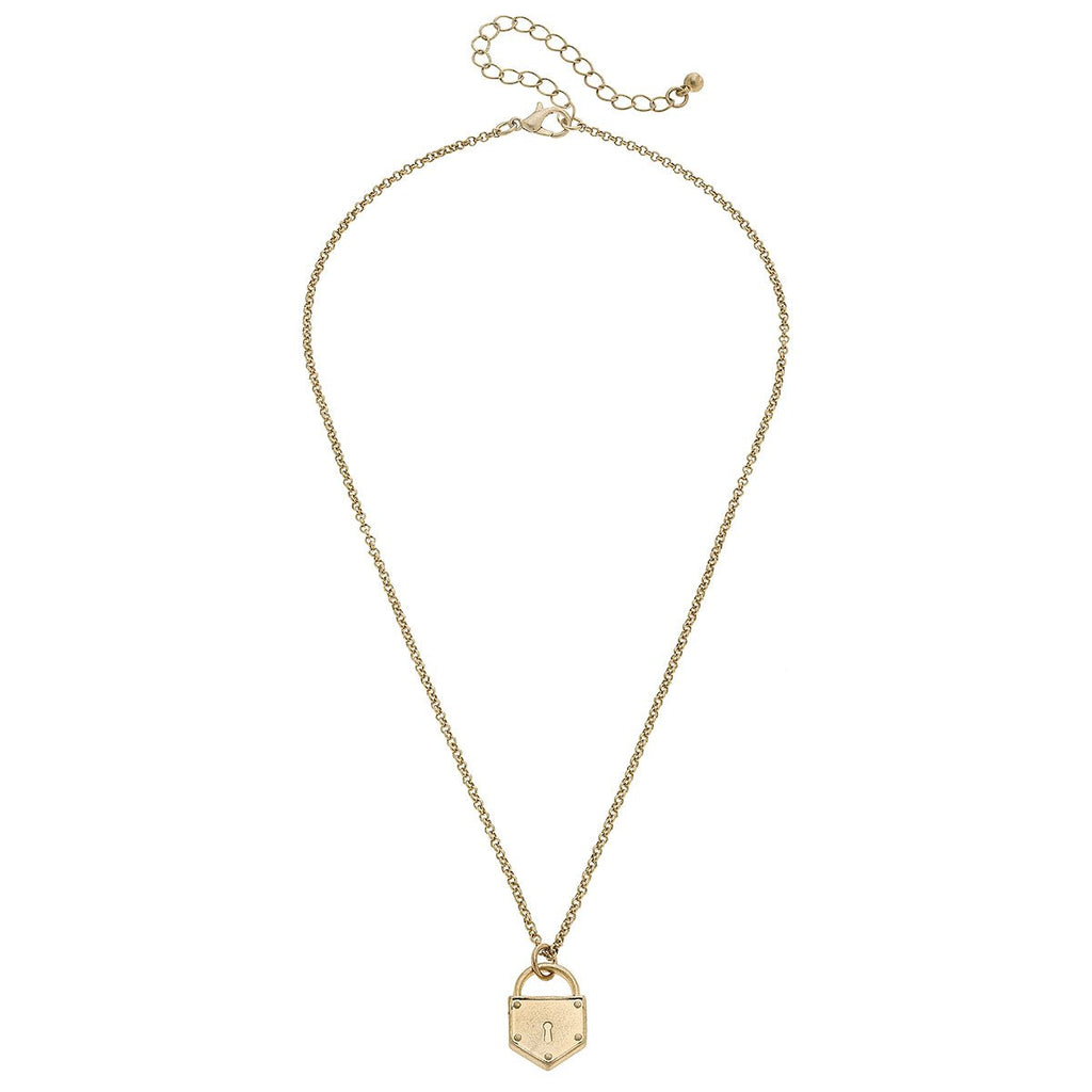 Piper Delicate Chain Padlock Necklace in Worn Gold | Cornell's