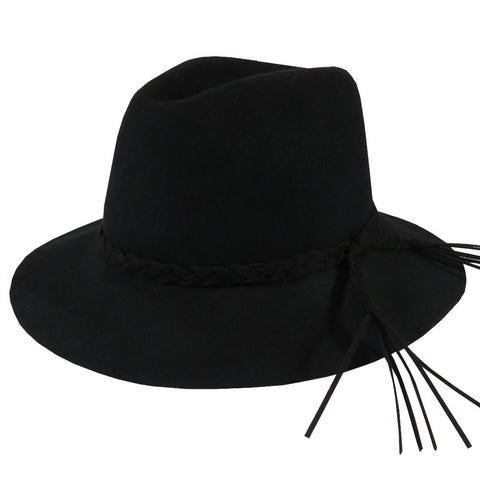 Wool Felt Braided Belt Black Hat