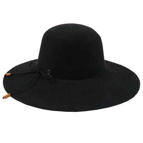 Wool Felt Floppy Black Hat